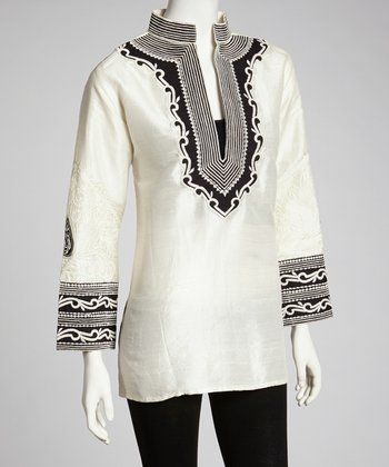 Ivory & Black Embroidered Tunic