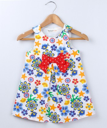 White & Red Sea A-Line Dress - Infant, Toddler & Girls