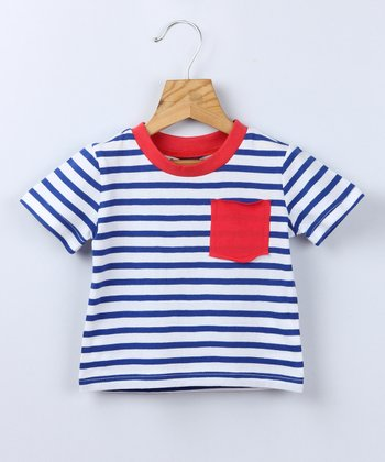 Blue Stripe Pocket Tee - Infant & Toddler