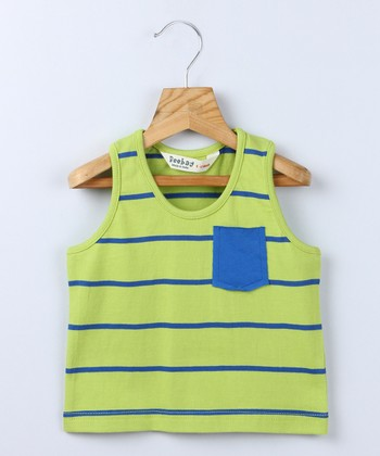 Lime & Blue Stripe Tank - Boys