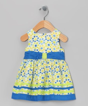 Blue & Yellow Circle Bow Dress - Infant