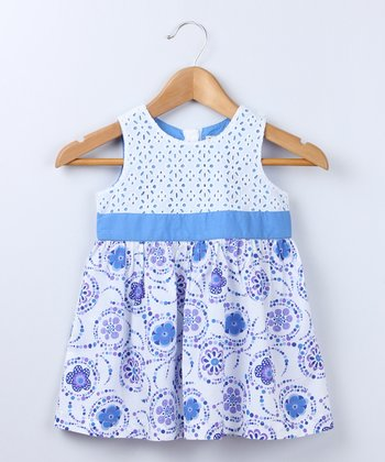 Blue Embroidered Dress - Infant, Toddler & Girls