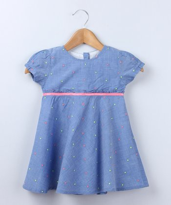 Blue Chambray & Neon Polka Dot Dress - Infant & Toddler
