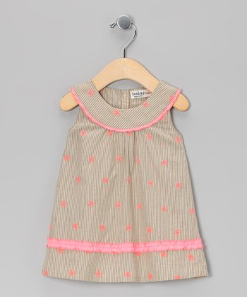 Beige & Pink Butterfly Yoke Dress - Infant & Toddler