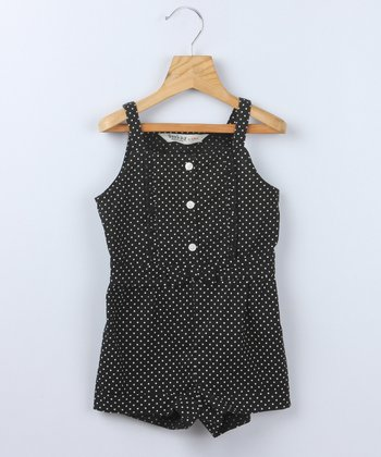 Black Polka Dot Romper - Infant & Toddler