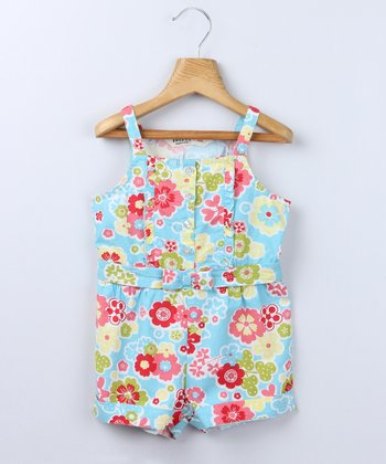 Turquoise Floral Romper - Infant, Toddler & Girls