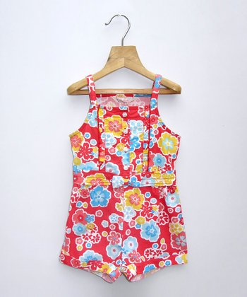 Red Floral Romper - Infant, Toddler & Girls