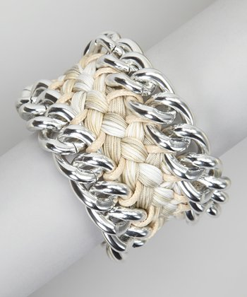 White & Silver Amazon Woven Bracelet