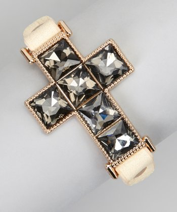 Ivory Embellished Cross Faux Leather Cuff