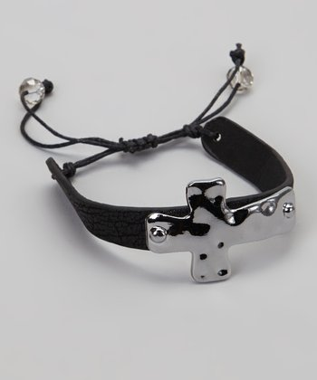 Black Faux Leather Cord Cross Cuff