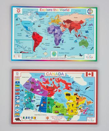 Canada Map & World Map Activity Place Mat Set