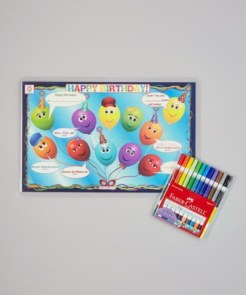 Happy Birthday Place Mat & Washable Marker Set