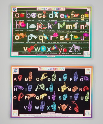 Lowercase ABC's & Sign Language Activity Place Mat Set