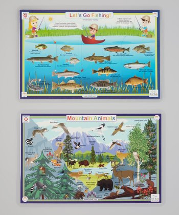 Mountain Animals & Fishing Activity Place Mat Set