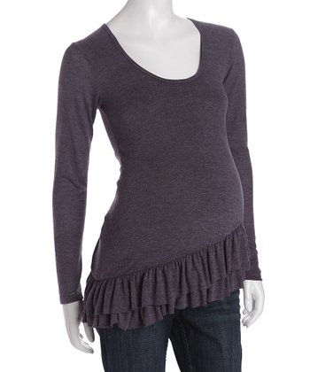e.m.etc Purple Sweater Ruffle Tunic