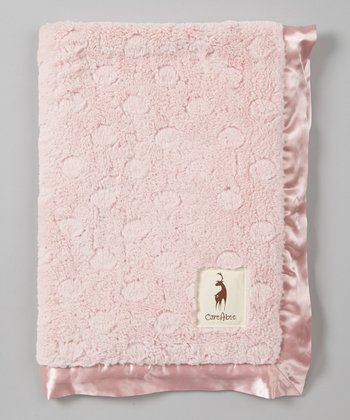Pink Polka Dot Plush Receiving Blanket