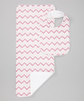 Pink Zigzag Burp Cloth & Bib
