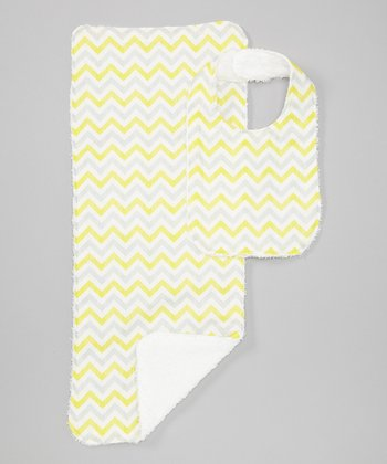 Yellow & Gray Zigzag Burp Cloth & Bib