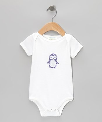 Purple Polka Dot Penguin Organic Short-Sleeve Bodysuit - Infant