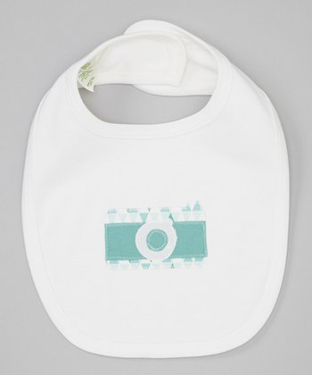 Teal Geometric Camera Organic Ribbed Bib