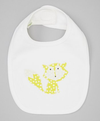 Yellow Polka Dot Fox Organic Ribbed Bib