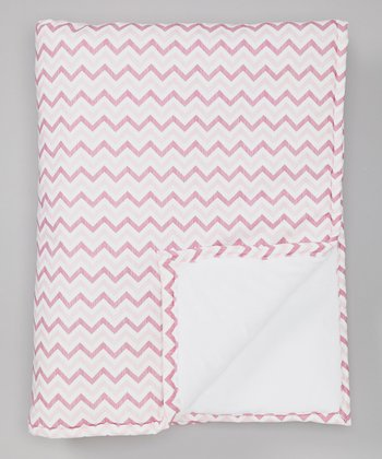 Pink Zigzag Minky Receiving Blanket