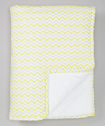 Yellow & Gray Zigzag Minky Receiving Blanket