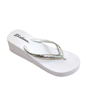 White Glitter Wedge Flip-Flop