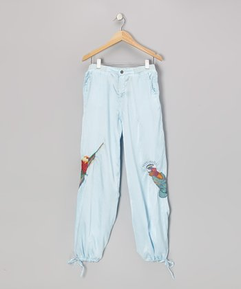 Liquid Blue Mystic Bird Silk Pants