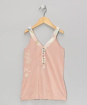 Blossom Pink Flower Button-Up Tank