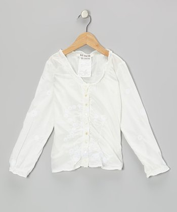 White Sequin Flower Blouse