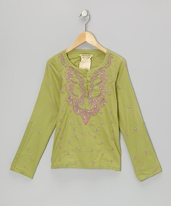 Moss Sequin Flower Blouse