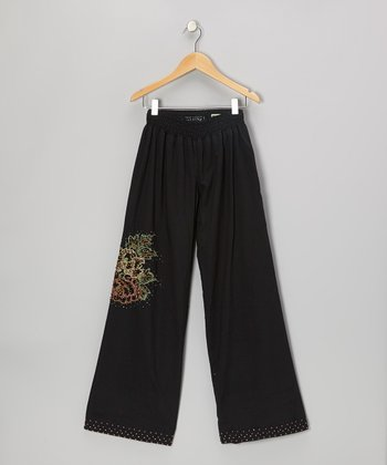 Black Knit Floral Pants