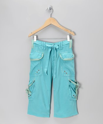Tahoe Blue Knit Flower Cargo Warm-Up Pants - Girls