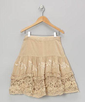 Pebble Knit Flower Ruffle Skirt