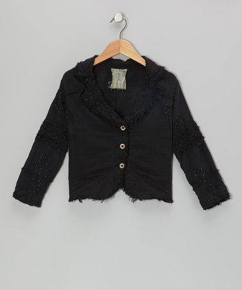Black Beaded Button-Up Jacket