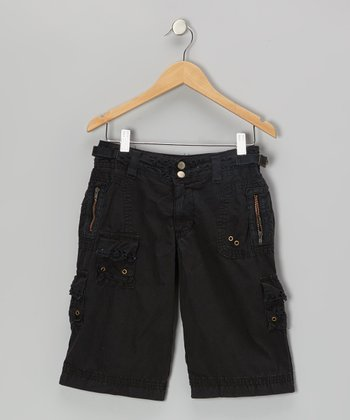 Black Cargo Bermuda Shorts