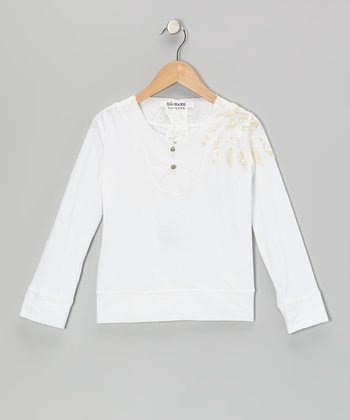 White Sequin Bell Button Long-Sleeve Top