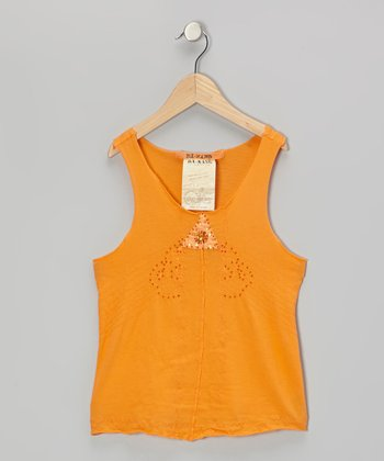 Africa Orange Sequin Triangle Tank
