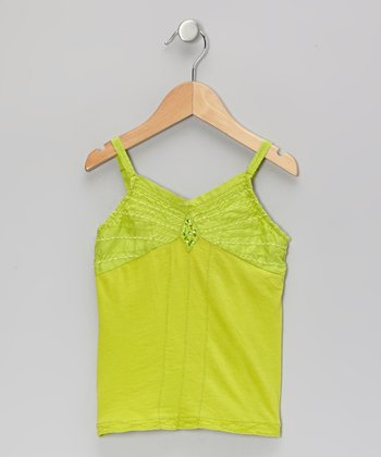Tropical Green Beaded Sequin Tank - Girls