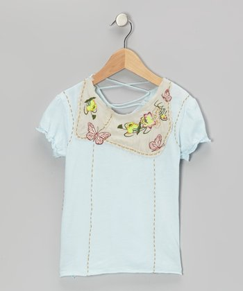 Sea Blue Knit Flower & Butterfly Cap-Sleeve Top