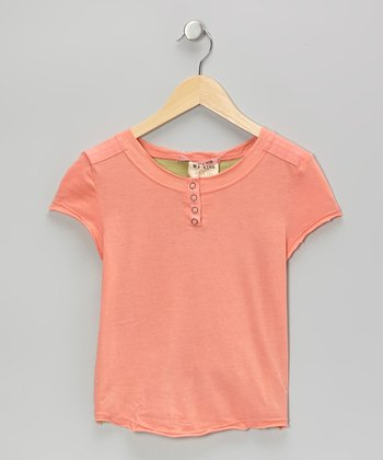 Salmon Frayed Flower Cap-Sleeve Henley