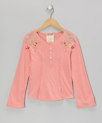 Coral Knit Flower Long-Sleeve Henley