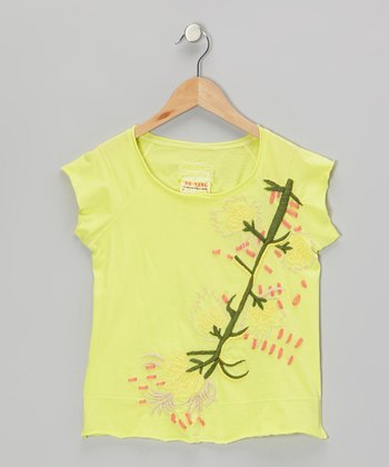 Dandelion Knit Flower Branch Cap-Sleeve Top