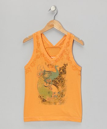 Marigold Orange Mystic Bird Beaded Flower Tank
