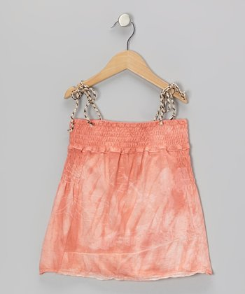 Shell Pink Shirred Tie-Dye Swing Top
