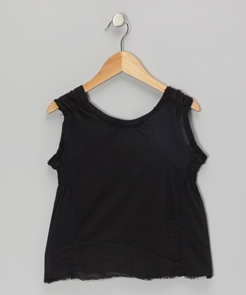 Black Shirred Tank
