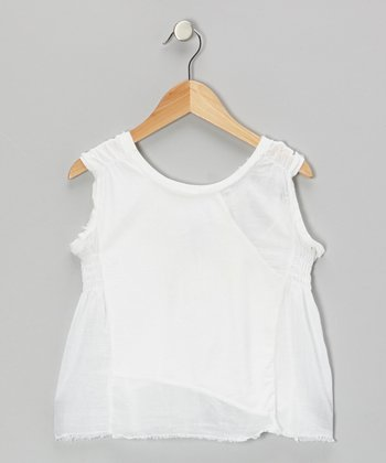 Optic White Shirred Tank
