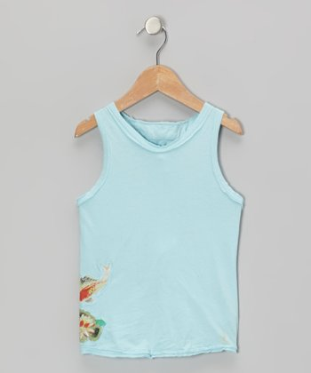 Swim Aqua Fish Flower Racerback Tank