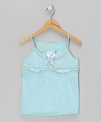 Swim Aqua Knit Flower Ruffle Camisole - Girls
